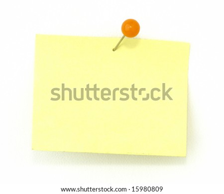 sticky pad with a push pin - stock photo