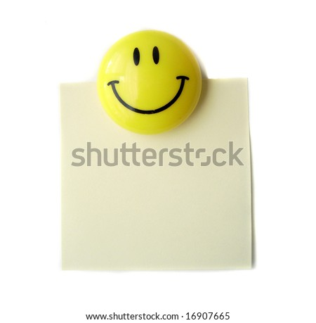 Sticky paper and magnetic clip - stock photo