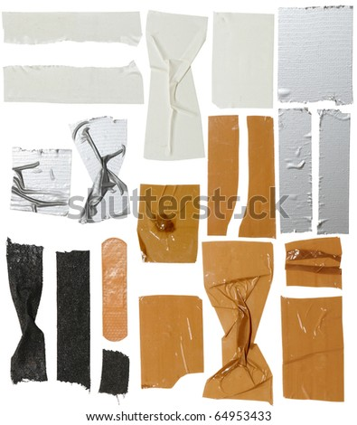 sticky tape with white background - stock photo