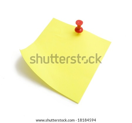 Sticky yellow note isolated on white background - stock photo