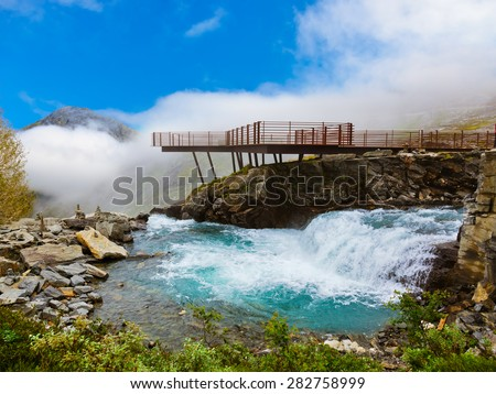 Stigfossen waterfall and viewpoint in Norway - nature and travel background - stock photo