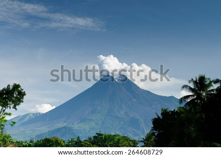 Still active Merapi volcano after the eruption in 2011. Indonesia, Java - stock photo