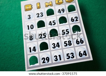 STILL IMAGE-a bingo card isolated on green
