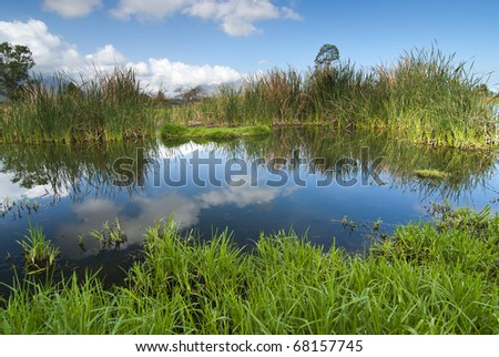 Still lake on a sunshine day with blue skies and white clouds overhead - stock photo