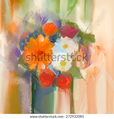 Still life a bouquet of flowers. Oil painting daisy and rose flowers in vase. Hand Painted floral in soft color and blurred  style  background - stock photo