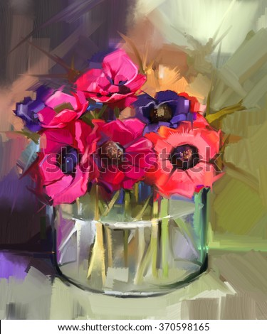 Still life a bouquet of flowers. Oil painting red anemones flower in glass vase. Hand Painted floral in Impressionist style  - stock photo