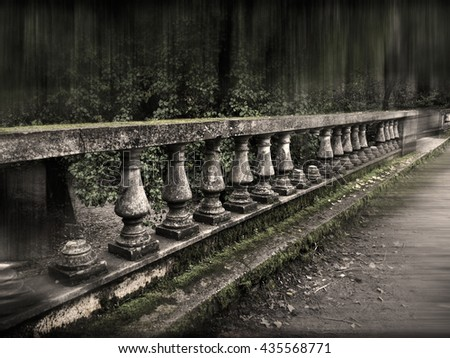 still life antique marble  fence, bench. selective focus and blur cloudy, scene. - stock photo