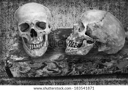 Still life art manipulated on death concept with skulls on floating marble table black and white version with copy space - stock photo