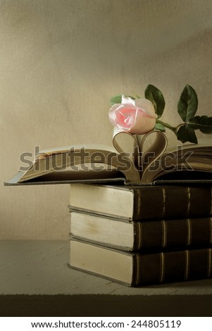 Still life art photography love concept with pink rose vintage book pages love heart sign on grunge selective focus