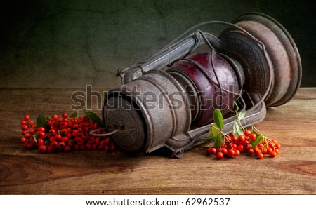 Still Life Autumn concept image with berries and old lamp