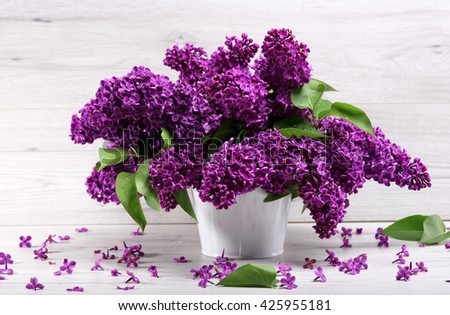 Still life. Bouquet purple lilacs in white a vase on a  wooden table Spilled with petals. - stock photo