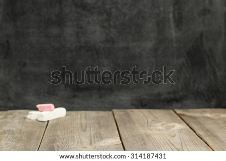 Still life, business, education concept. Copy space school background with chalkboard. Selective focus - stock photo