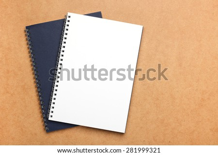 Still life, business, education concept. Office supplies, notepads, on a table. Selective focus, copy space background, top view - stock photo