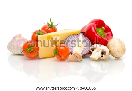 still life. cheese and ripe vegetables on white background. - stock photo
