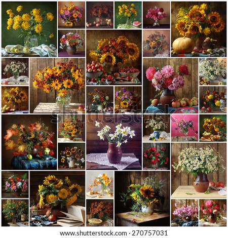 Still life, collage, flowers, bouquet. Background. - stock photo