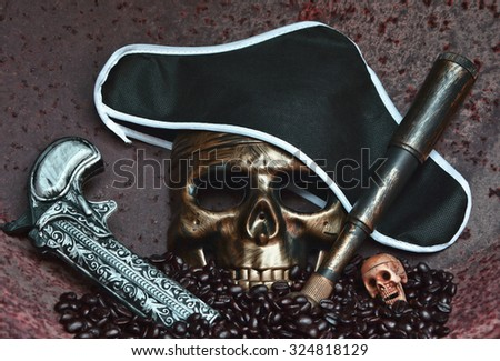 STILL LIFE CONCEPT HUMAN SKULL MASK IN LOOK OF THE PIRATE WITH THE PIRATE BLACK HAT , THE OLD VINTAGE HANDGUN AND THE OLD VINTAGE LONG RANGE SCOPE , RUSTY IRON BACKGROUND - stock photo