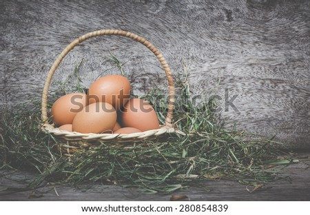 Still life eggs in the basket.