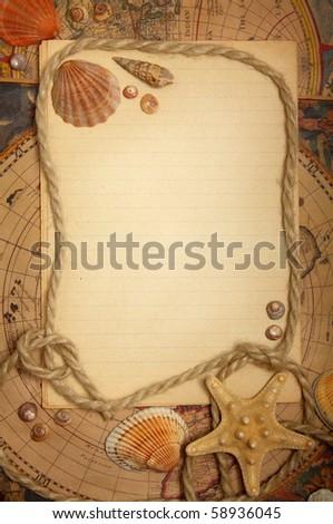 Still life - empty sheet , seashells and rope on maps - stock photo