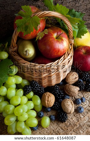 Still life for thanksgiving with autumn fruits, nuts and berries - stock photo