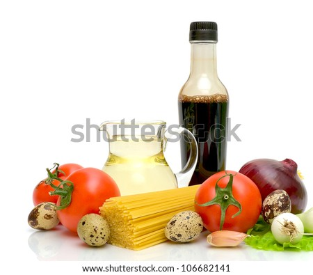 still life. fresh vegetables, pastas, quail eggs, sunflower oil and soy sauce on a white background. - stock photo