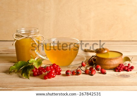 Still life from cup of tea , honey and  berries - stock photo