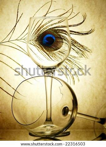 Still-life from the broken glasses - stock photo