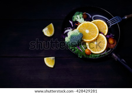 Still life fruit and vegetable salad  for clean green food concept - stock photo