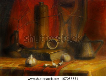 Still Life Illustration with book, vase, kattle, cucumber. Painting Style. Oil on canvas.