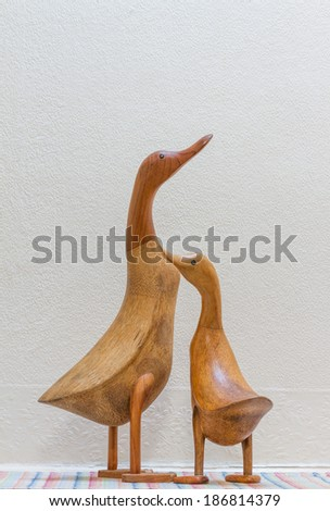 Still Life Image of a Wooden Duck Couple - stock photo