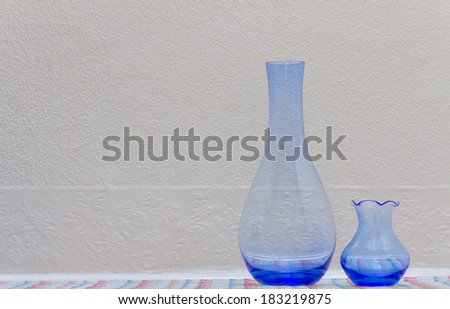 Still Life Image of Blue Vases.Copy Space - stock photo
