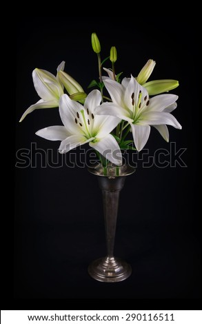 Still life image of white lilies in a silver vase, against black background