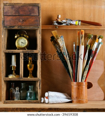 Still-life in studio of the artist - stock photo