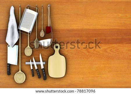 Still life in the kitchen, 3d illustration - stock photo