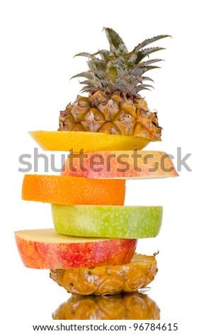 still life multifruit cuts ( pineapple; apple and orange), on white background, isolated - stock photo