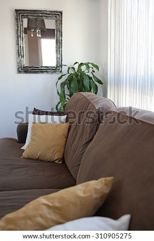 Still life of a family home living room with a comfortable brown sofa with cushions by a bright window with curtains, house interior. Home relaxing and lounging space with a mirror and plant, indoors.