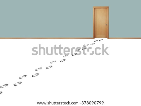 Still life of a Set of Footprints from a Person Leading to a Door - stock photo