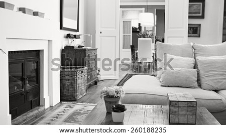 Still life of a stylish, personal and elegant home living room with a white sofa and a fireplace, wooden floors and carpets, house interior. Beautiful home space and family room with books, indoors.