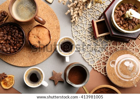 Still life of aromatic coffee on table, top view - stock photo