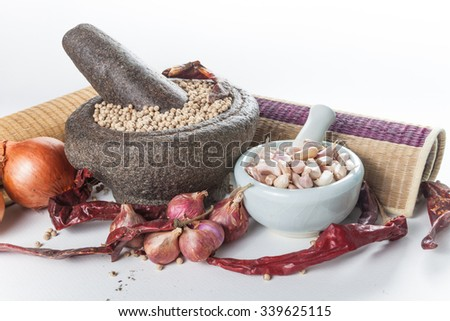 Still life of asia seasoning on white - hot spicy seasoning - stock photo