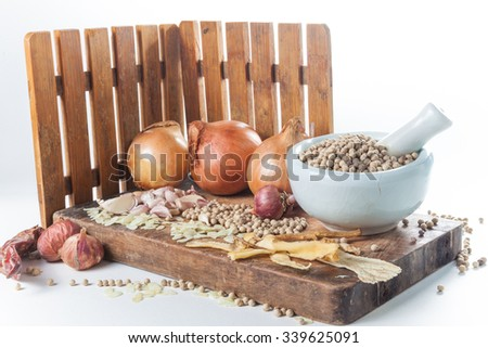 Still life of asia seasoning on white - Mixed seasoning with Chinese herb - stock photo