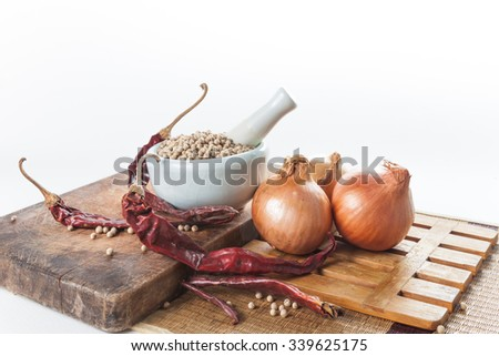 Still life of asia seasoning on white - Spicy seasoning - stock photo