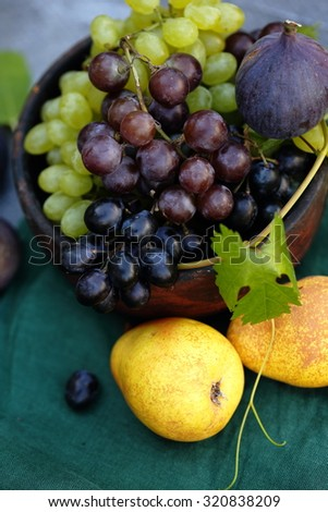 Still life of autumn fruits on a gray background - stock photo