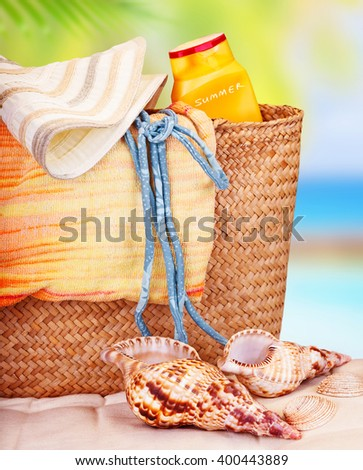Still life of beach items, travel to Mediterranean sea, relaxation on beach resort, summer holidays concept