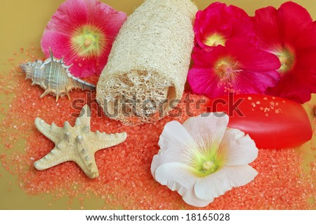Still life of beauty treatment items with loofah salt and soaps.