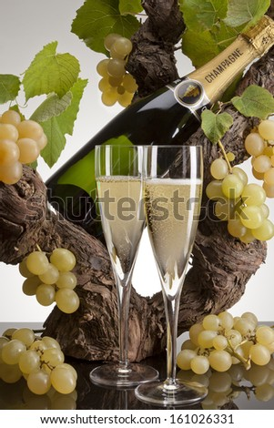Still life of bottle and two glasses of champagne - stock photo