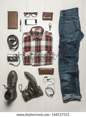 Still life of casual man./  Overhead of essentials modern man.