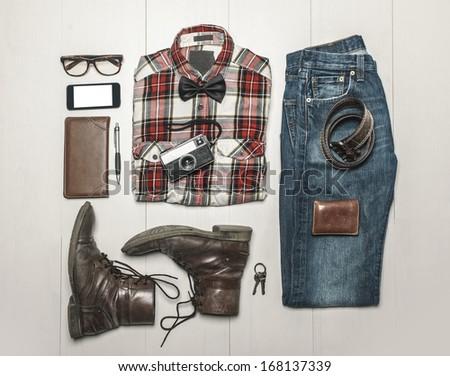 Still life of casual man./  Overhead of essentials modern man.  - stock photo