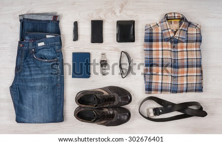 Still life of casual man./ Overhead of essentials modern man. - stock photo