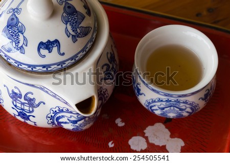 still life of Chinese tea pot and cup