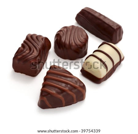 still life of chocolate praline on white background - stock photo
